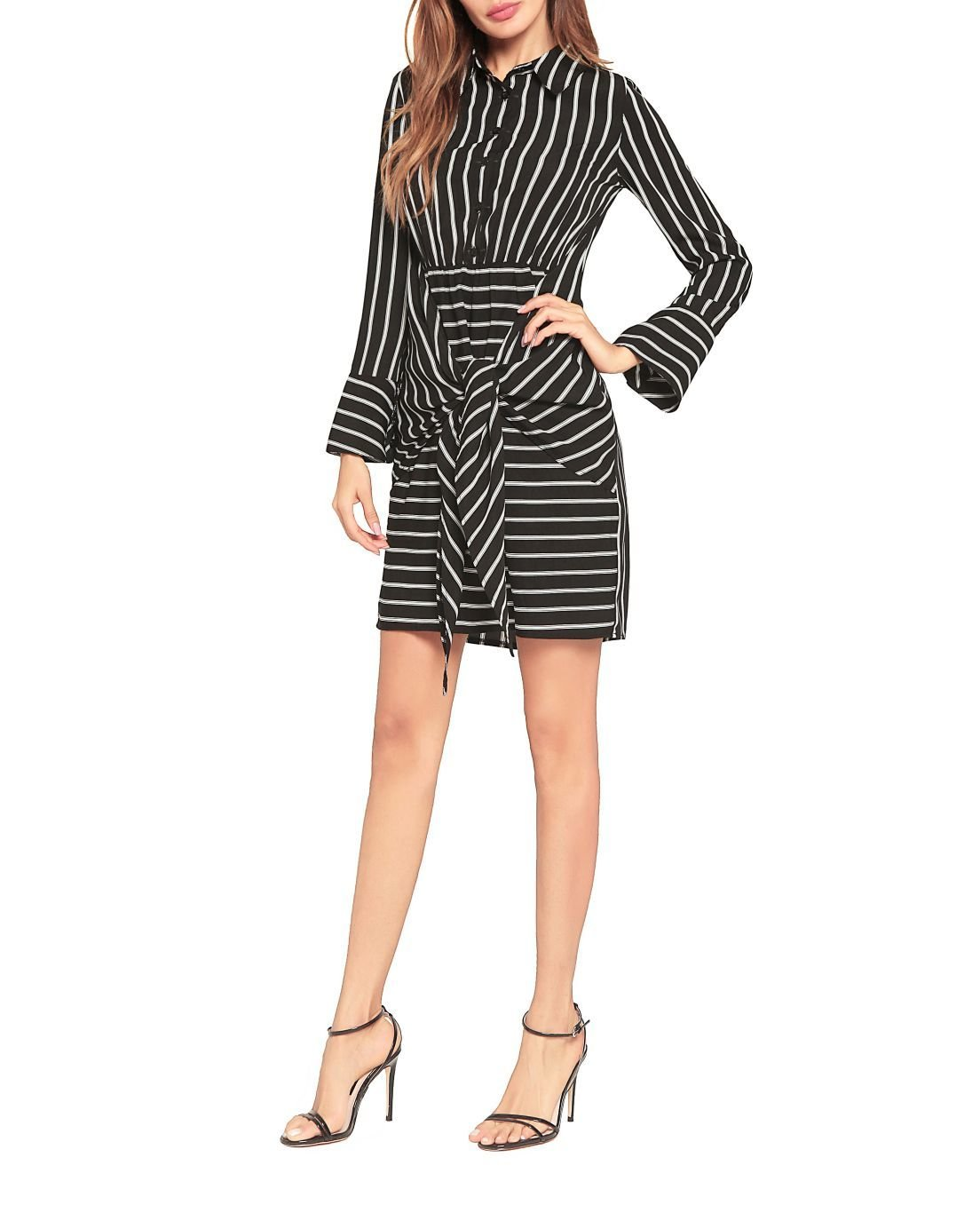 Striped Dress with Tie-Front Skirt