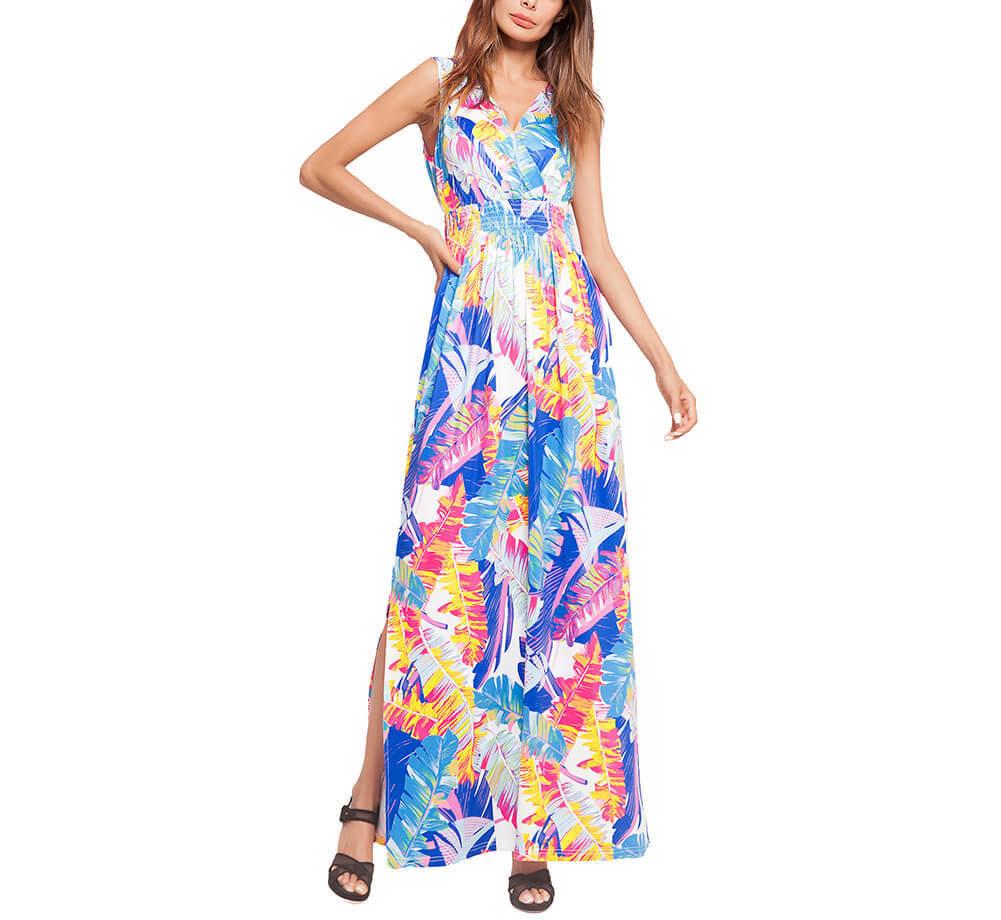 Sleeveless Tropical Beach Print Maxi Dress