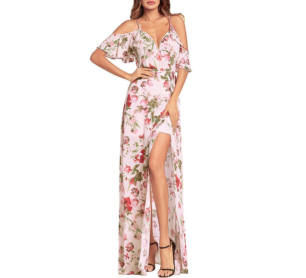 Long Slip Dress in Floral Chiffon