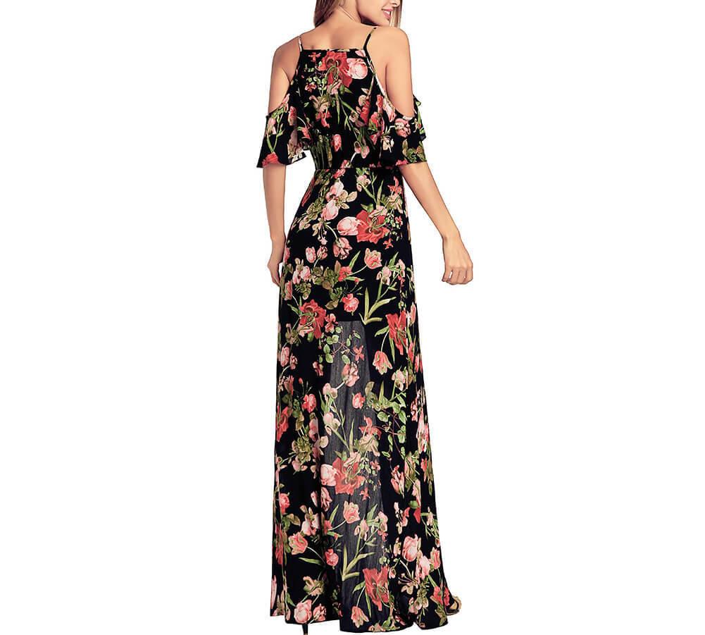 Long Slip Dress in Floral Chiffon