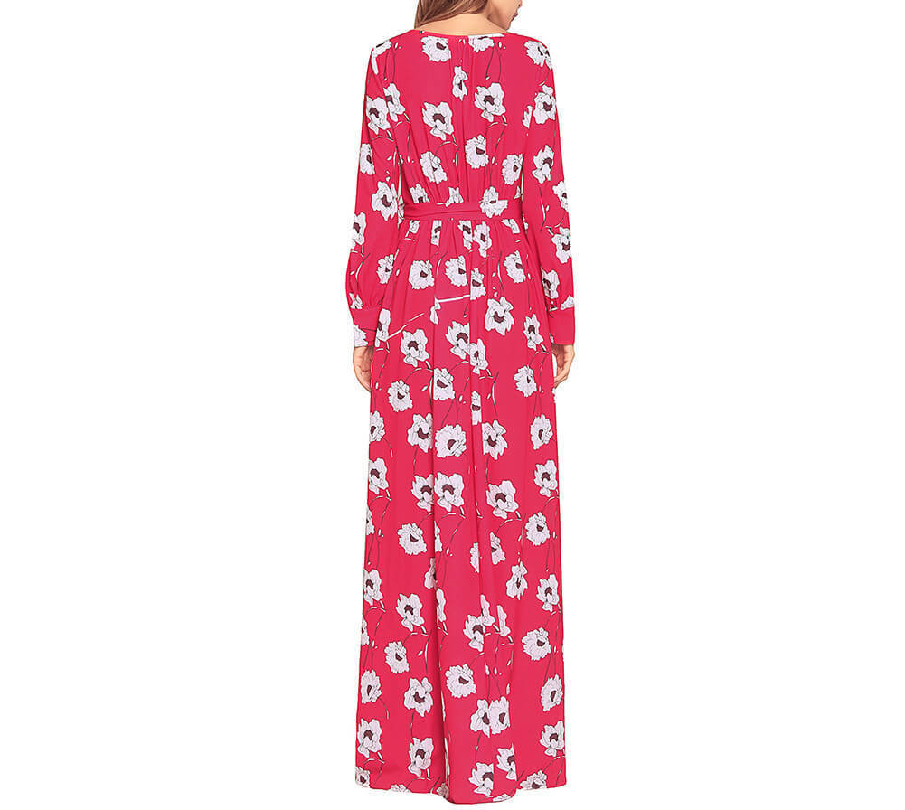Bold Floral Maxi Dress with Long Sleeves