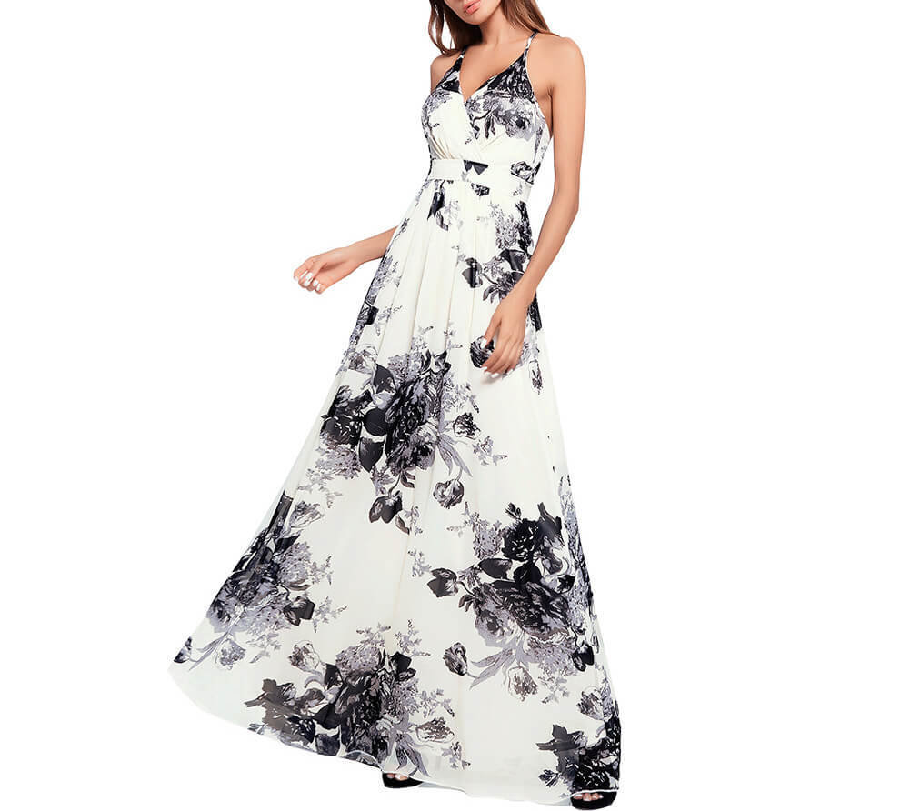Boho Long Dress with Large Floral Print