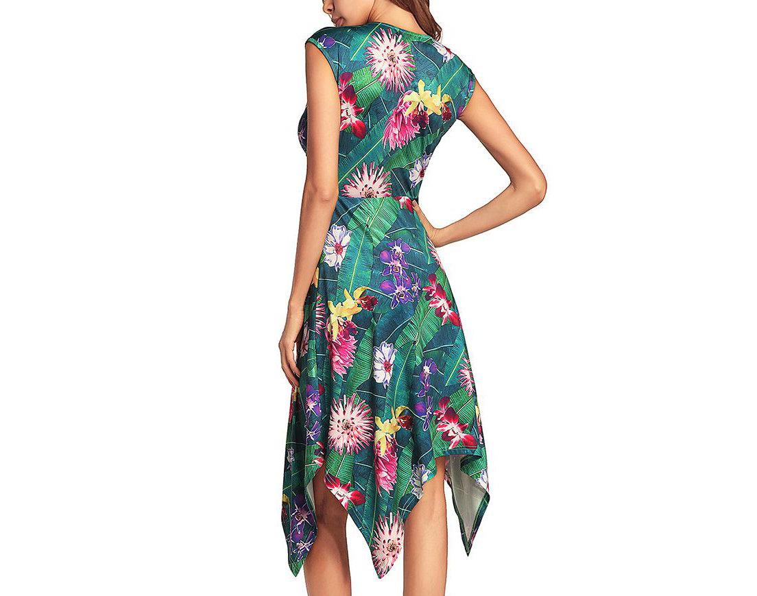 Sleeveless Dress with Handkerchief Hemline