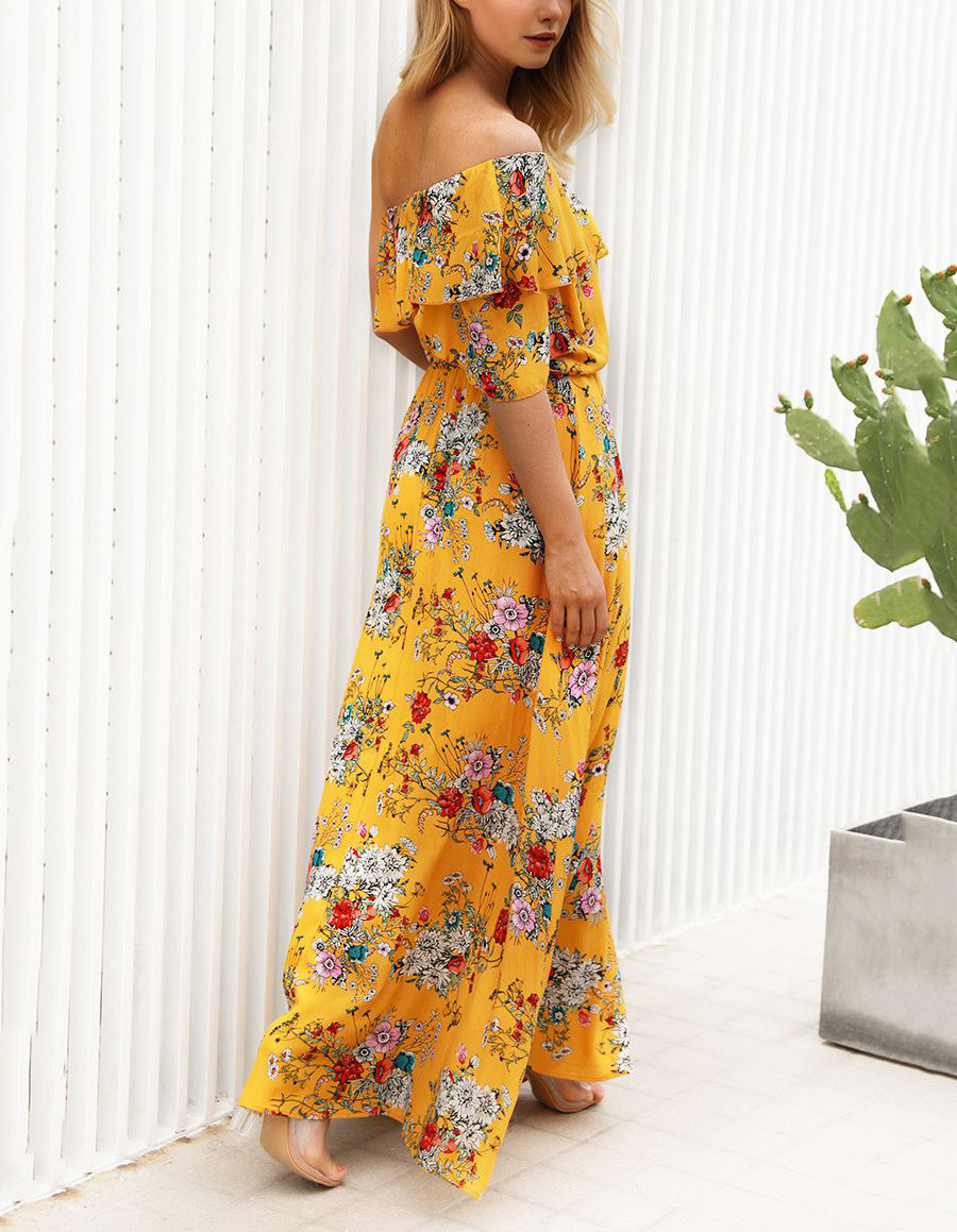 One-Shoulder Casual Maxi Dress with Ruffle Top