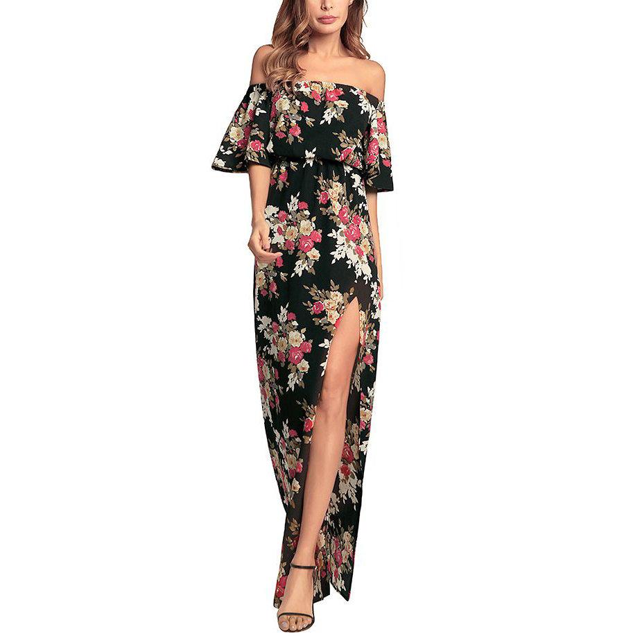 Off-Shoulder Formal Dress with Side Slit