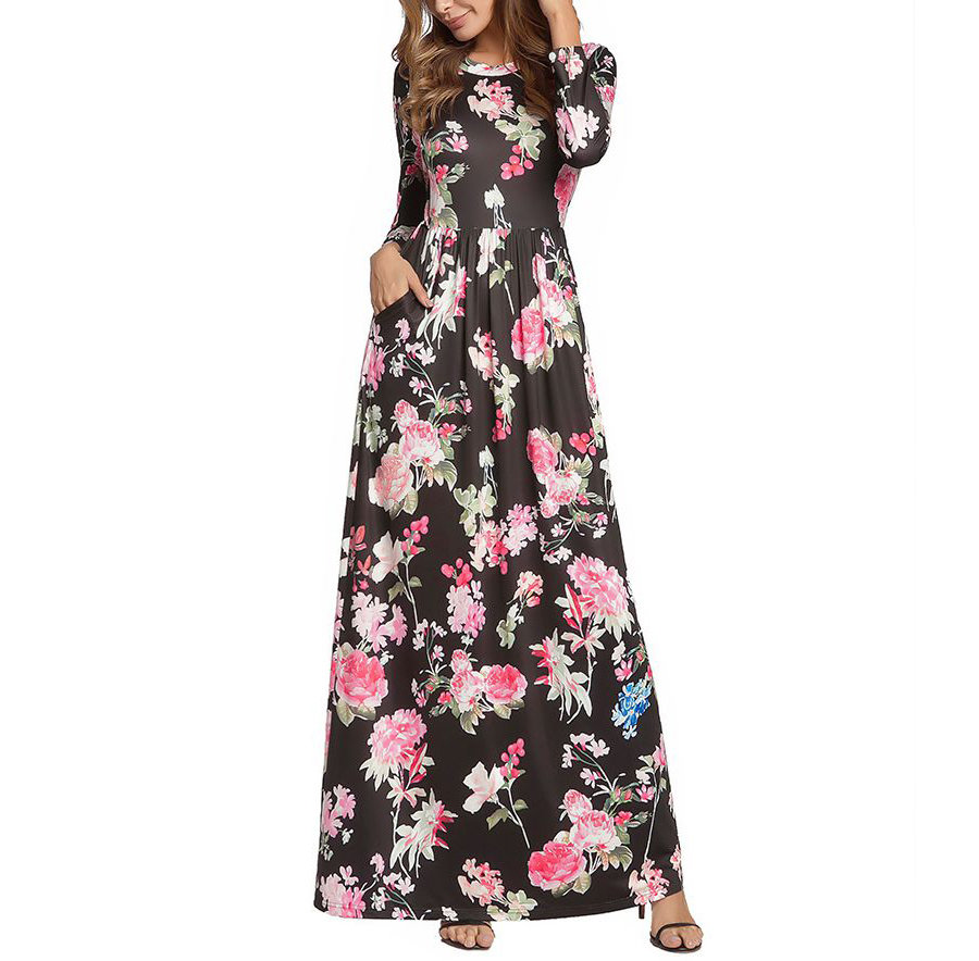 Formal Dress in Rose Print with Pockets