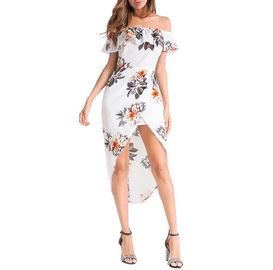 Hi-Lo Casual Dress with Shoulder Ruffle