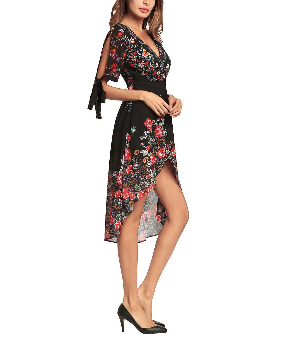 Boho Print Formal Dress with Wrap Styling
