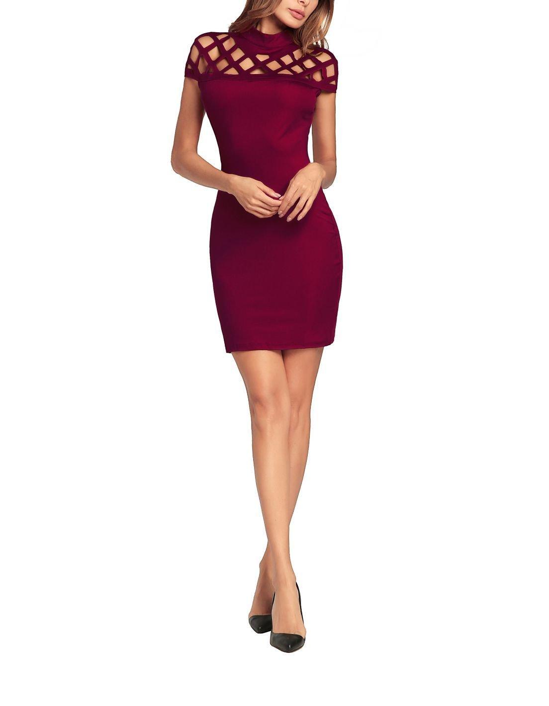Short Cocktail Dress with Lattice Yoke