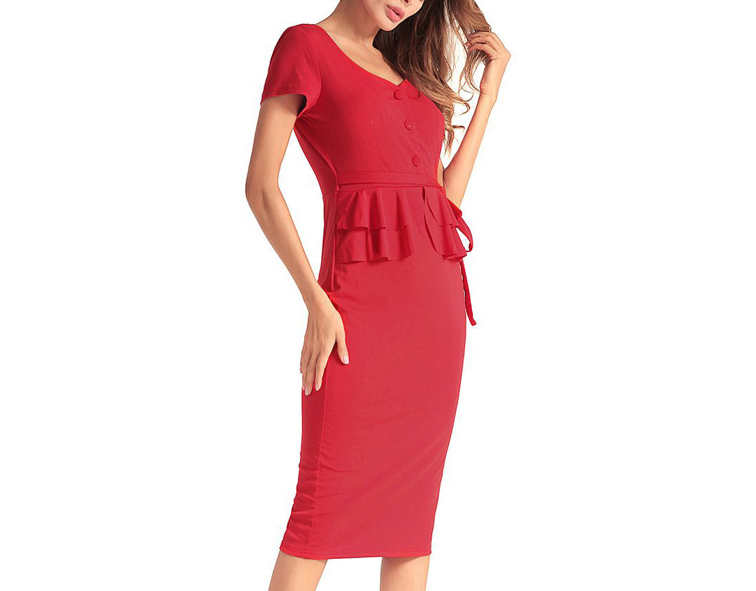 Feminine Work Dress with Peplum