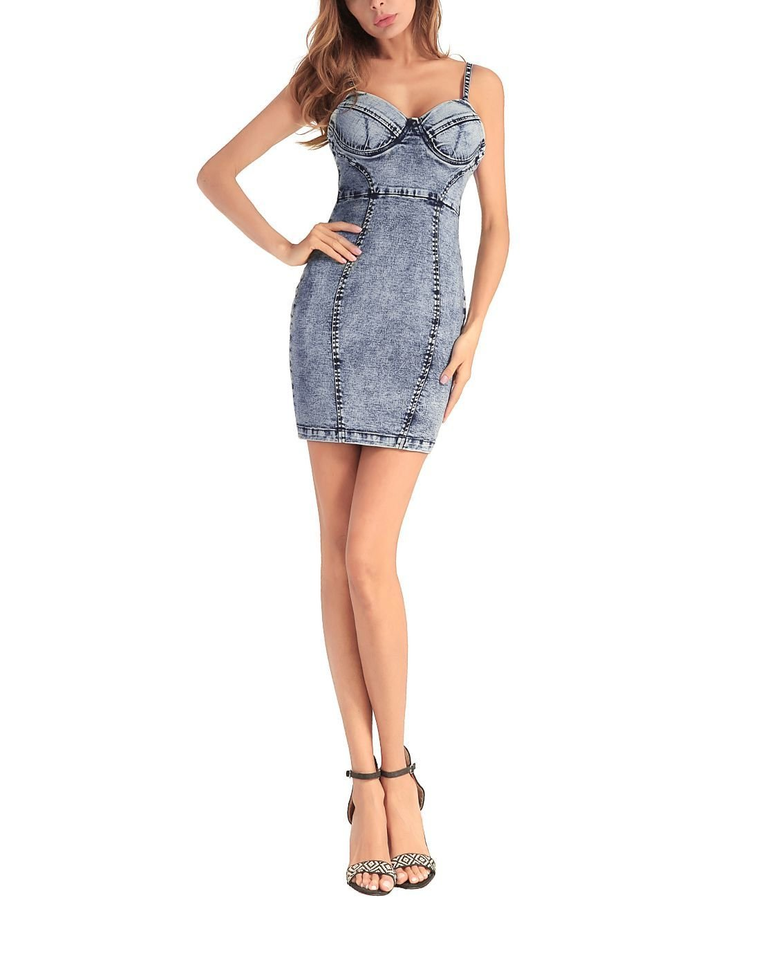 Denim Casual Dress with Bustier Top