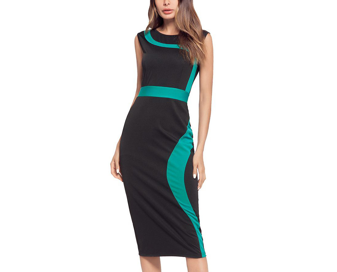 Sleeveless Work Dress with Colorful Inserts