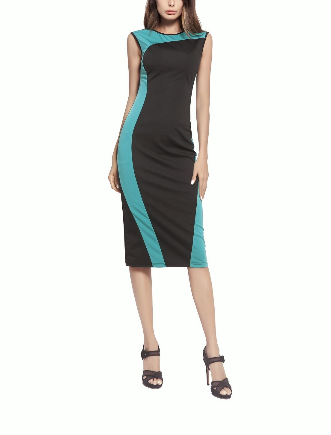 Column Dress for Work with Contrast Color Trim