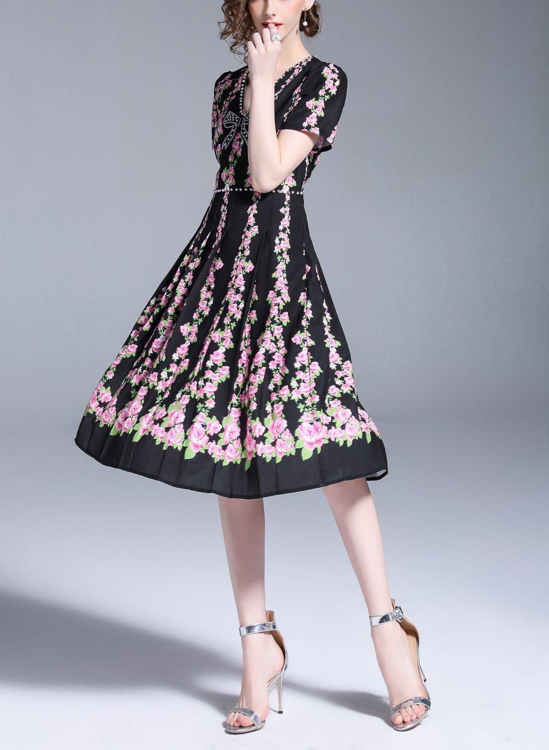 Pretty Pleated Formal Dress with Rhinestones