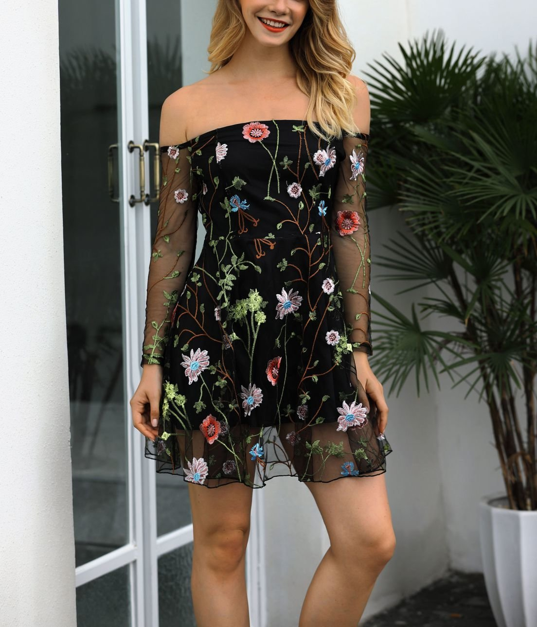 Sheer Embroidery Formal Dress