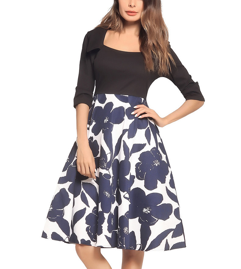 Work Dress with Black Top and Print Skirt