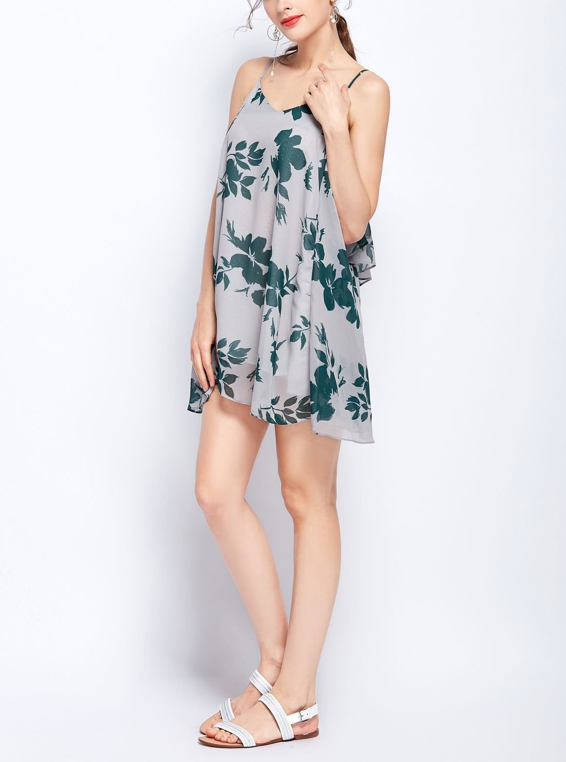 Chiffon Casual Dress with Laced Back