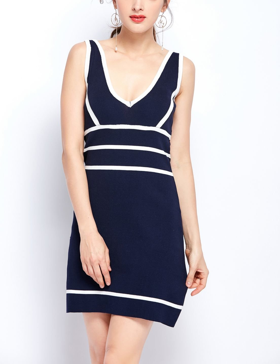 Sporty Ribbed Knit Casual Dress