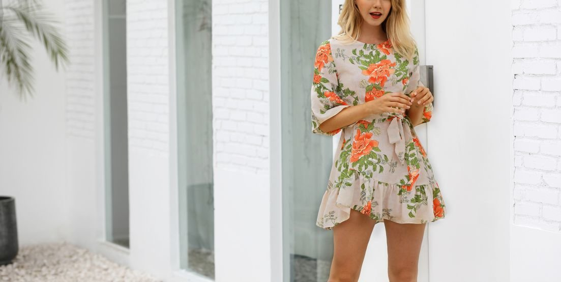 Jewel Neck Casual Dress with Ruffles