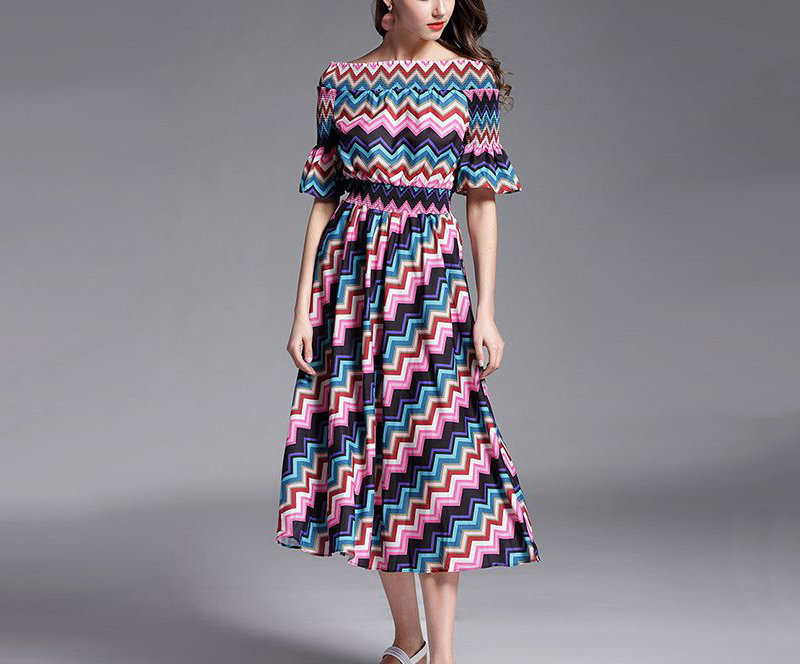 Chevron Print Casual Dress