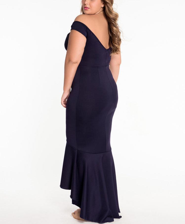 Princess-Seamed Formal Dress with Mermaid Ruffle