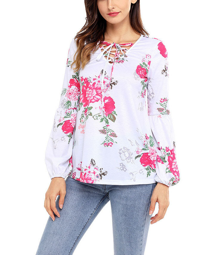 Front-Laced Knit Top with Long Gathered Sleeves