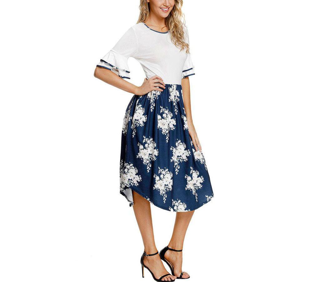 Feminine Work Dress with Contrast Top