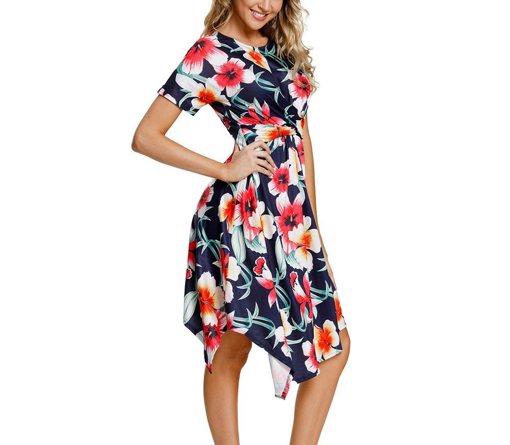 Work Dress with Wrap Top and Handkerchief Hem