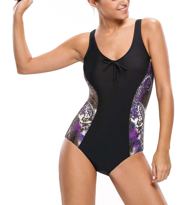 Tank Swimsuit with Princess Seams and Laced Back