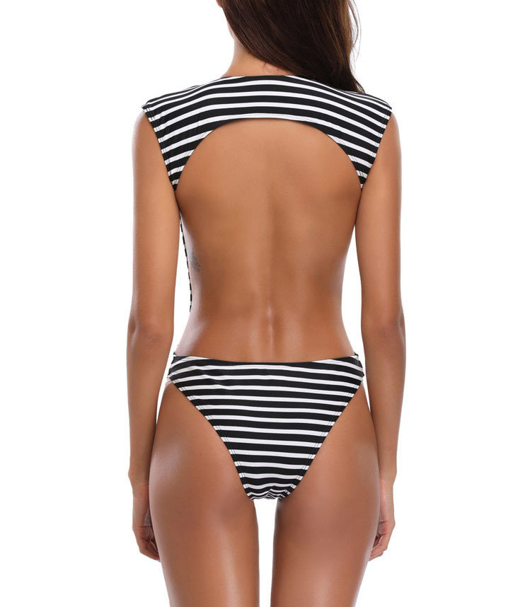 Striped One-Piece Swimsuit with Deep Plunge Front