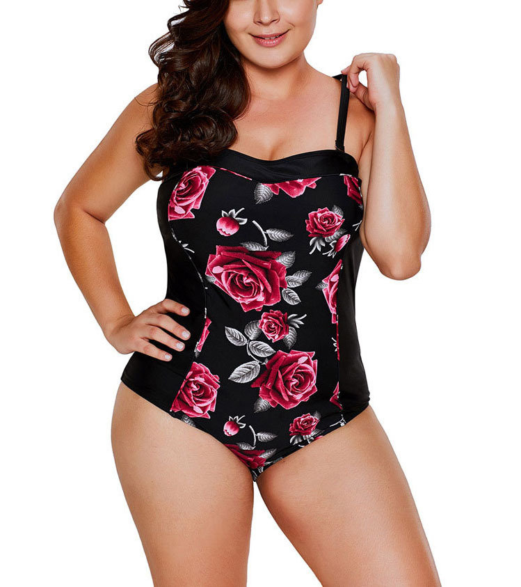 One-Piece Swimsuit with Princess Seams and Front Contrast Insert
