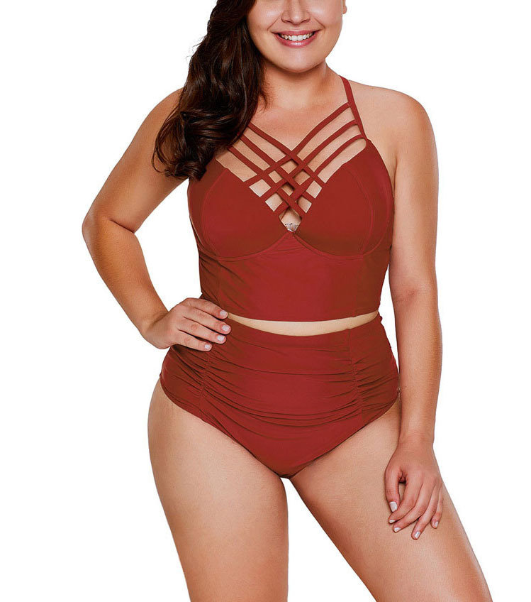 Two-Piece Swimsuit with Lattice Trimmed Longline Bra