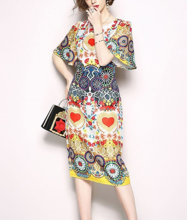 Work Dress with Flutter Sleeves and Slim Skirt