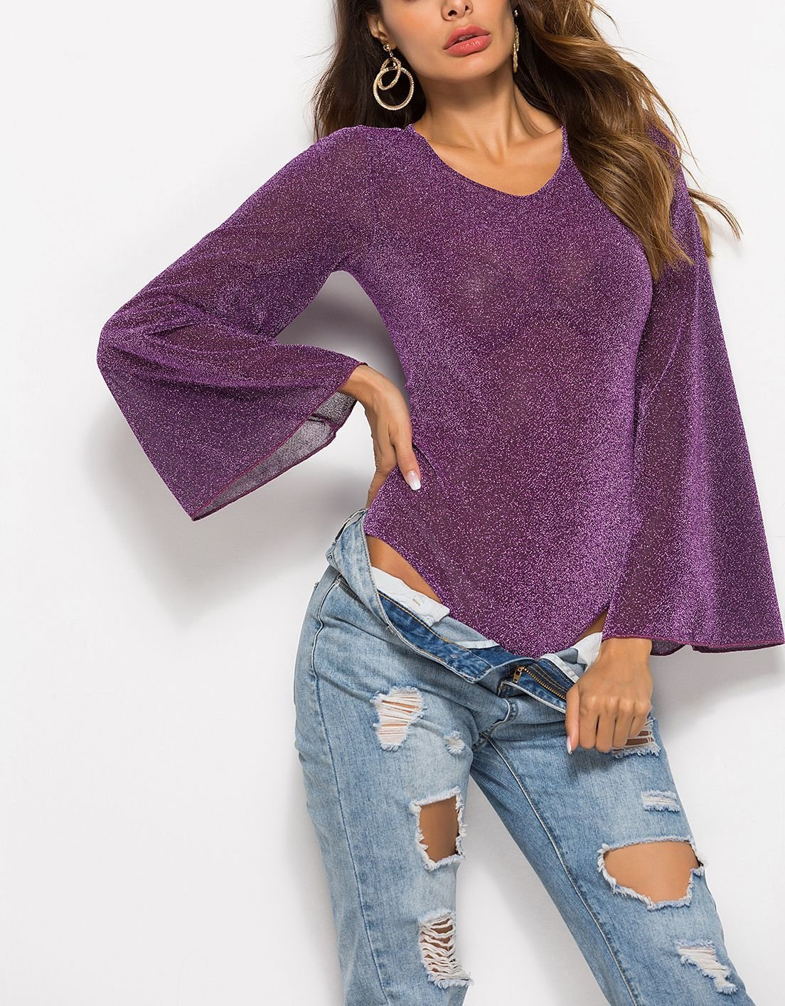 Sparkling Bodysuit Top with Angel Sleeves