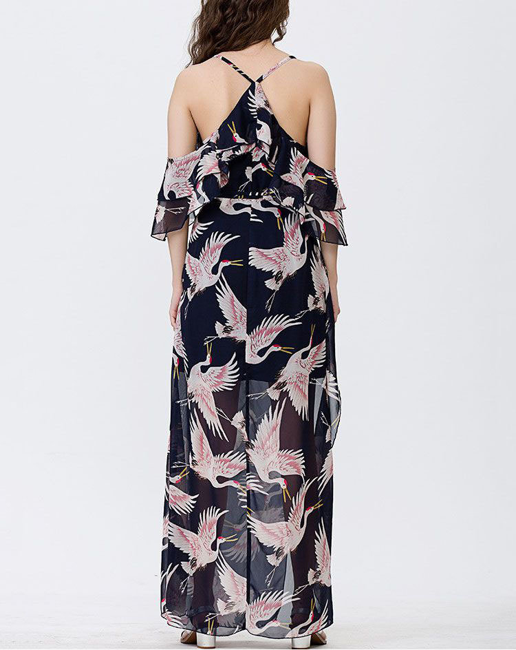 Chiffon Formal Dress With Slit Skirt and Off-Shoulder Sleeves