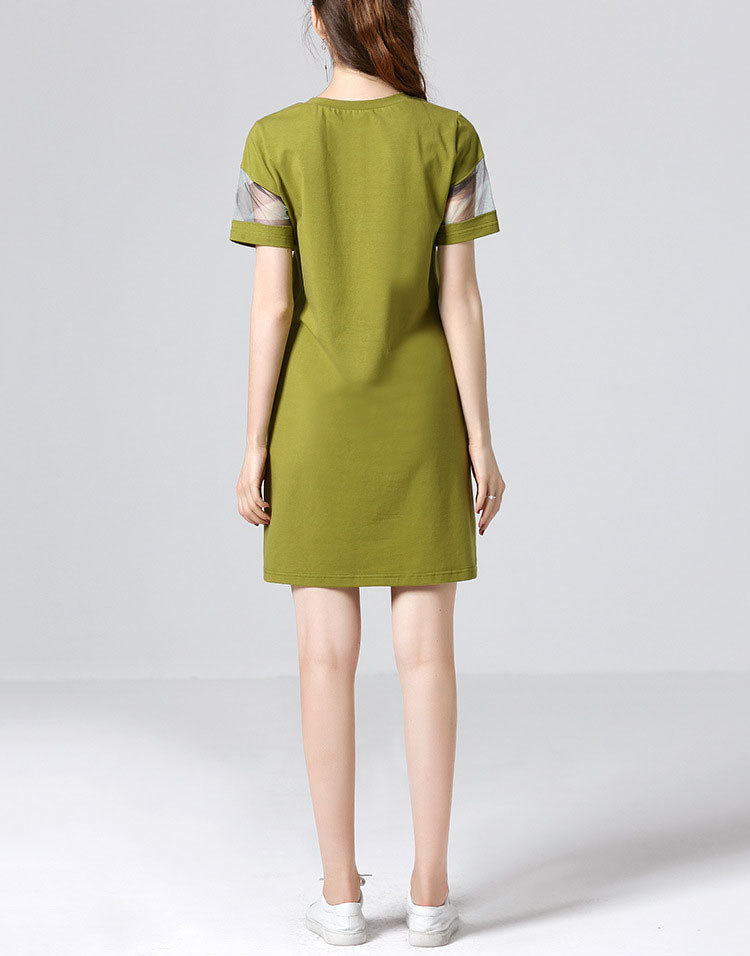 Mini Casual Dress with Sheer Sleeve Inserts