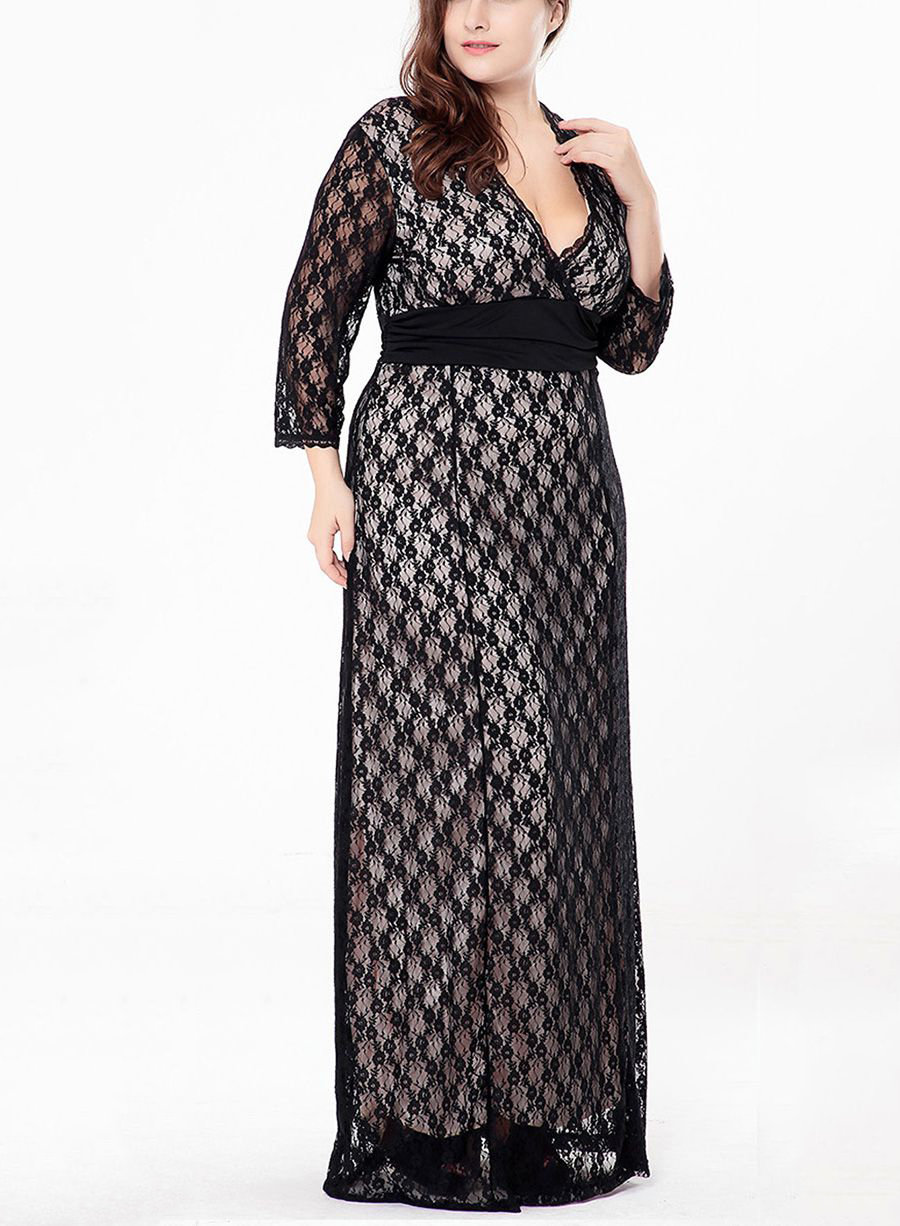 Long Formal Dress in Lace