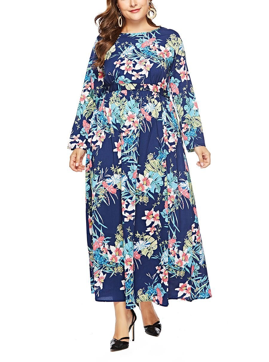 Maxi Cocktail Dress with Long Sleeves