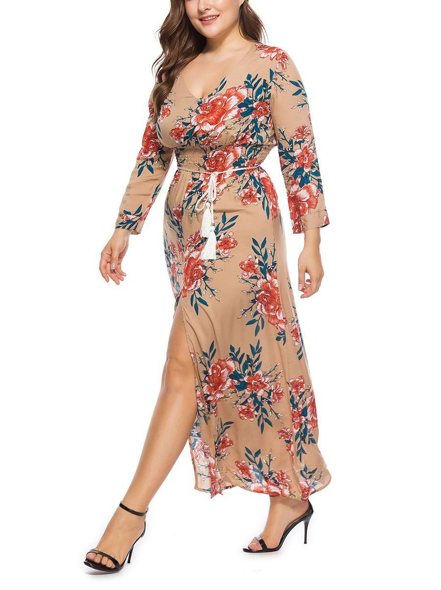 Club Dress with Deep Front Slit and Plunge Neckline