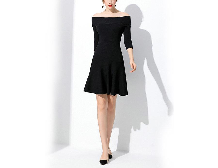 Elegant Knit Cocktail Dress with Skater Skirt