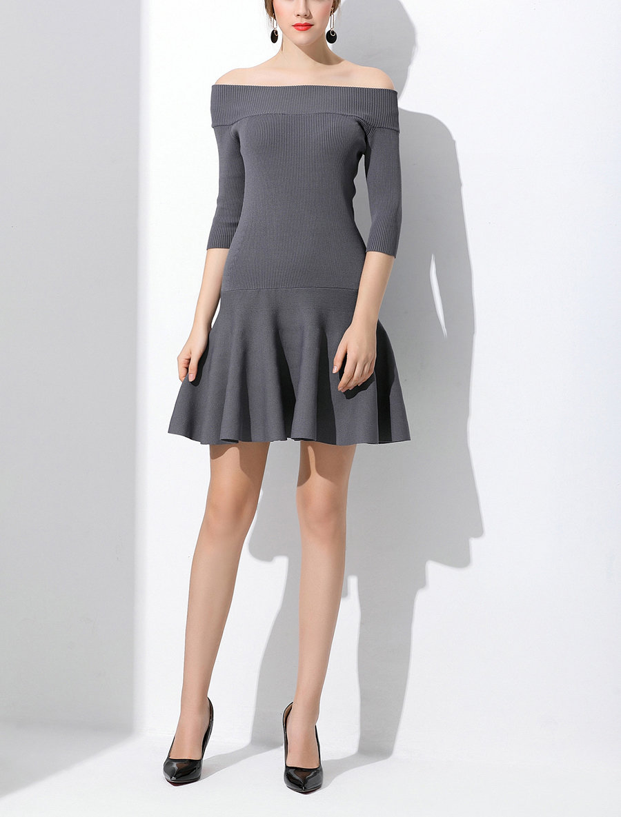 Elegant Knit Cocktail Dress with Skater Skirt