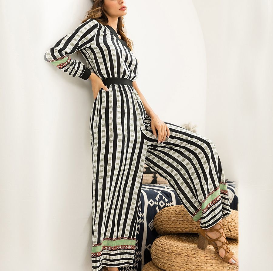 One-Shoulder Jumpsuit in Border Print Fabric