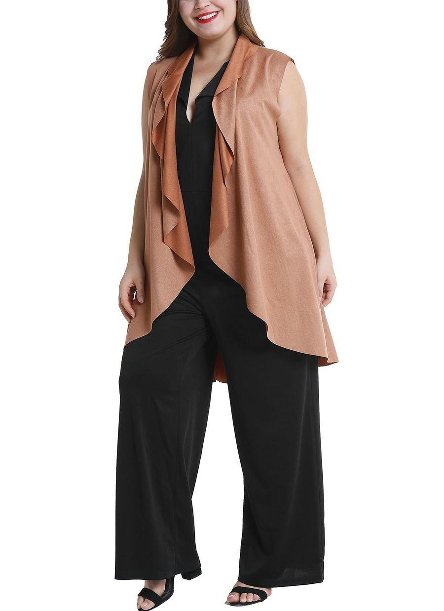 Sleeveless Cardigan Top in Shiny Fabric