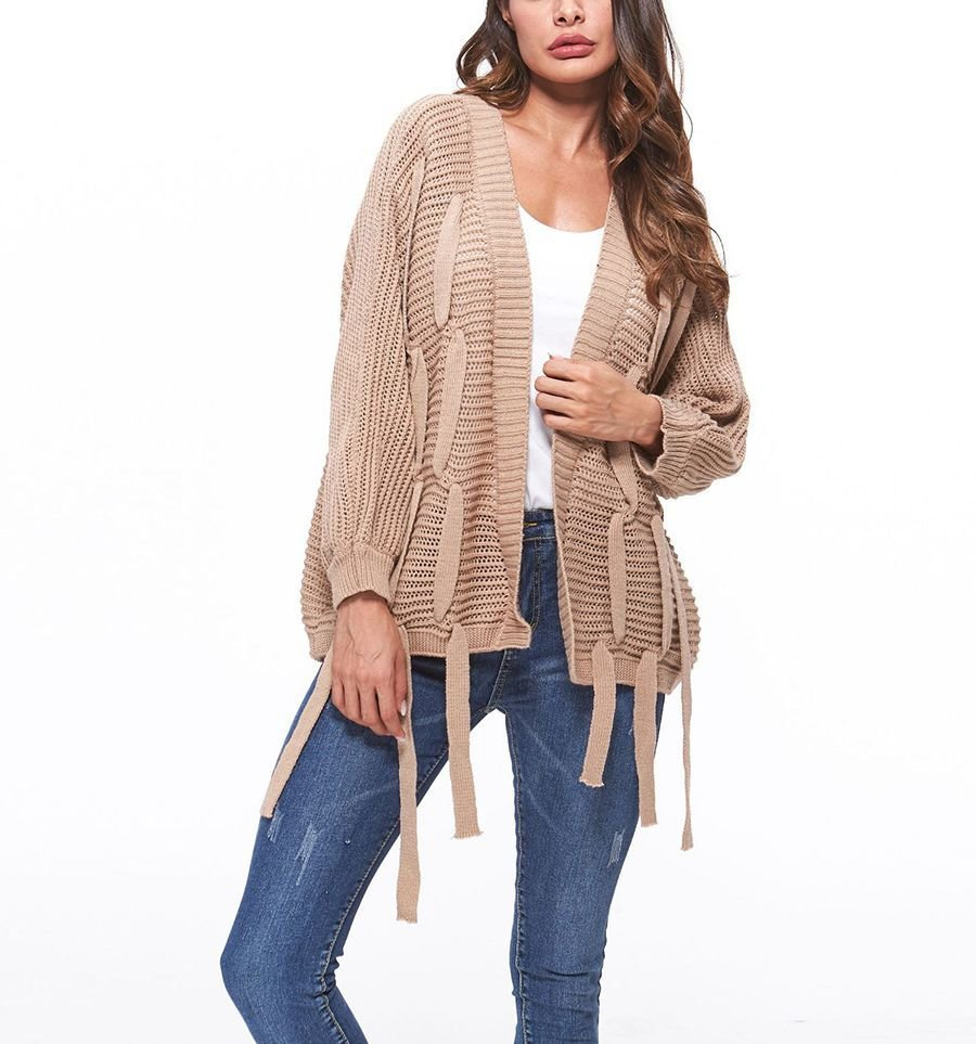 Cardigan Top with Wide Tape Trim