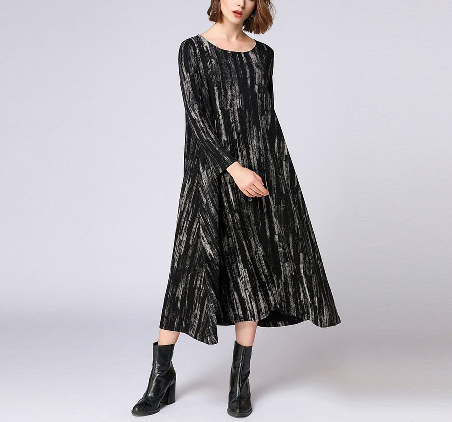 Mid-Calf Knit Casual Dress with Pockets
