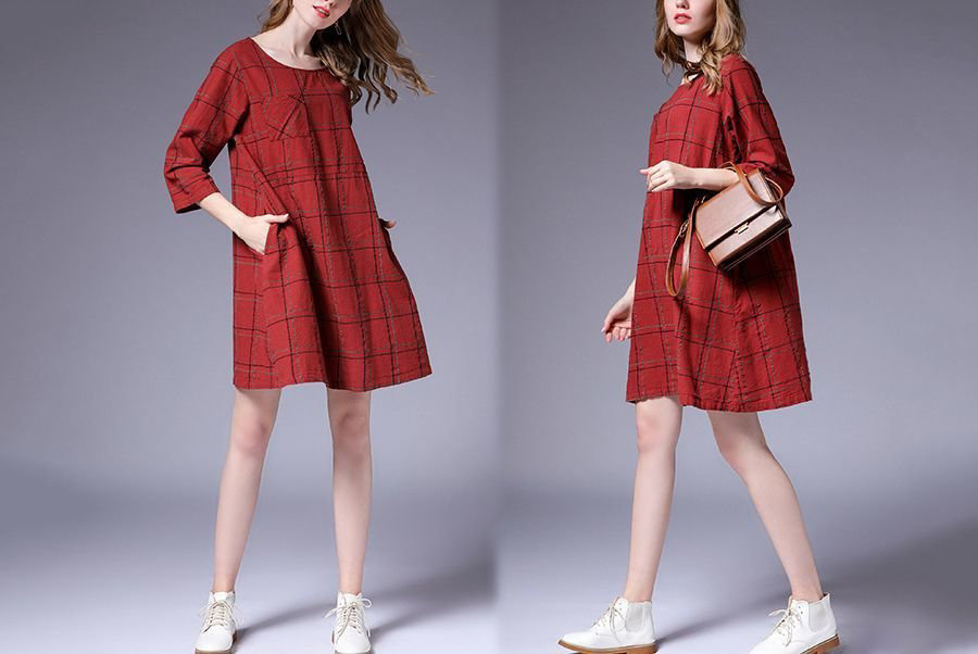 Casual Dress with Chest Pocket and Side Pockets