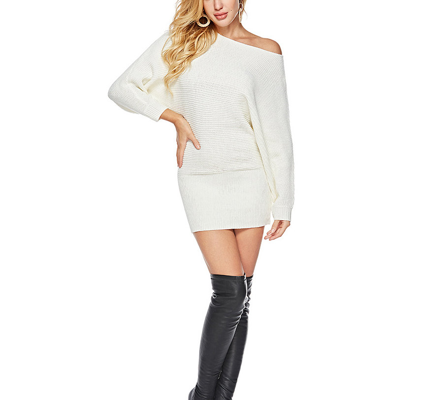 Knitted Sweater Dress with Dolman Sleeves