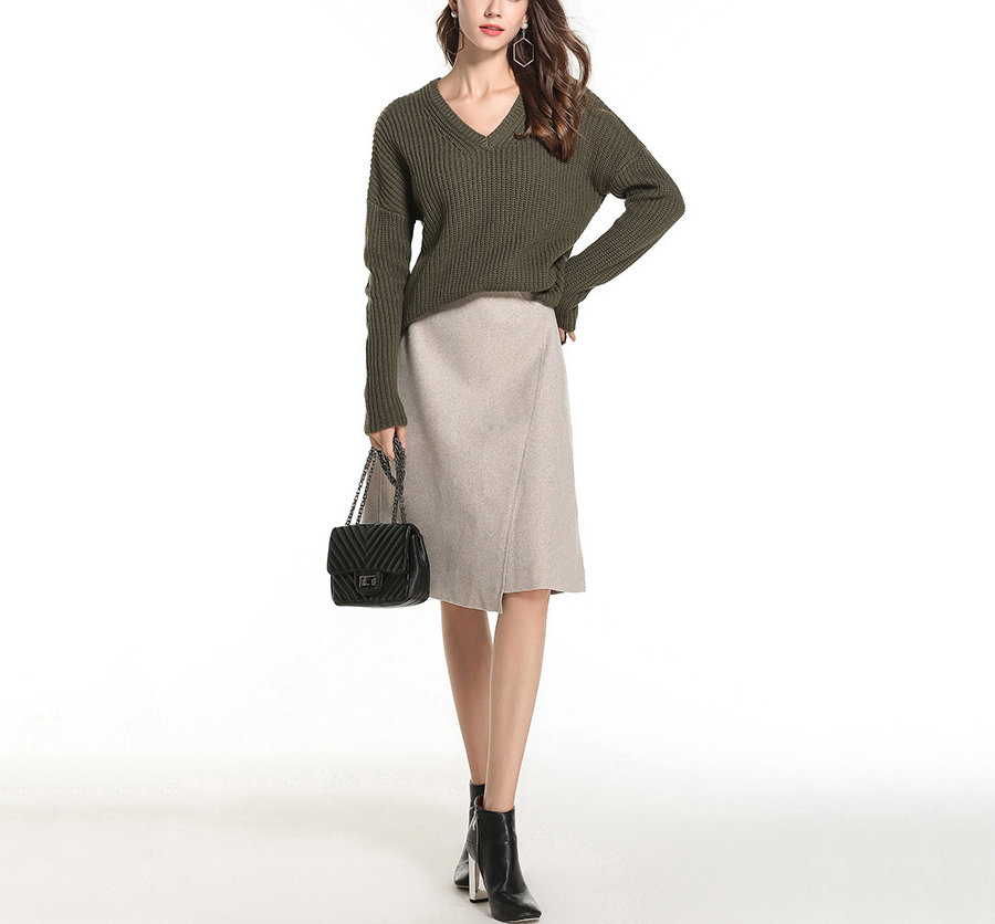 V-Neck Knit Sweater for Work or Play
