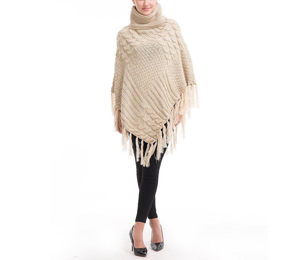 Knitted Sweater with Poncho Shape and Chunky Turtleneck Collar