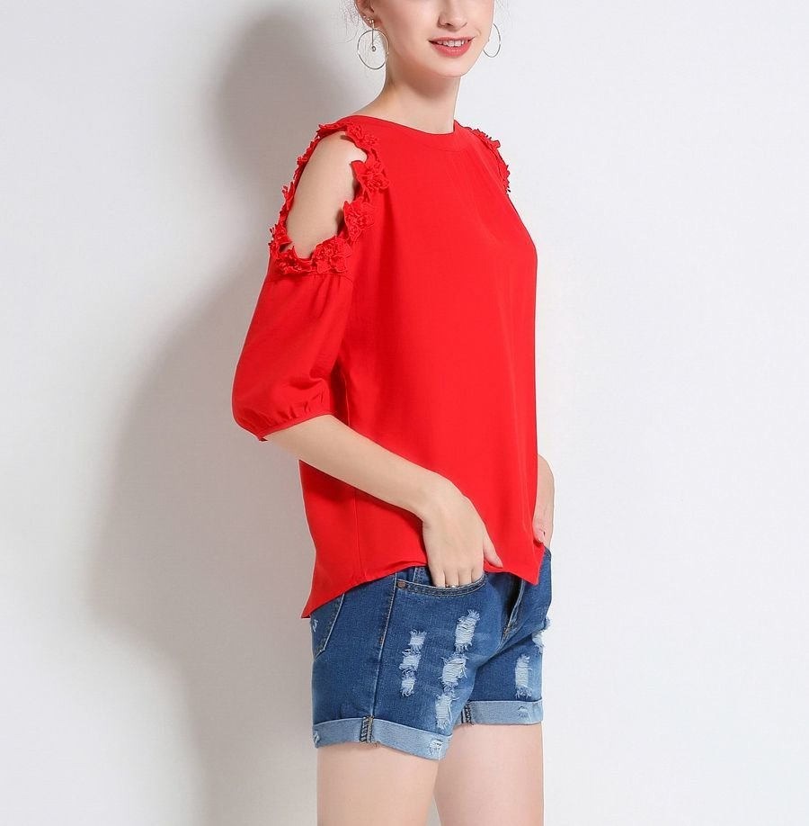 Mind-Blowing Red Cold Shoulder Top with Floral Lace Trim